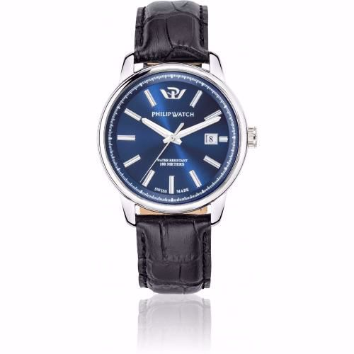 Orologio Uomo Philip Watch Kent Quarzo 40mm Pelle Nero Quadrante Blu