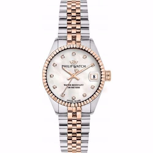 Orologio Donna Philip Watch Caribe Quarzo 39mm Acciaio Madreperla Diamanti PVD Rosé