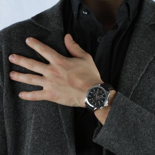 Orologio Uomo Philip Watch Blaze Cronografo 41mm Pelle Nero Cuciture Rosse