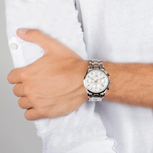 Orologio Uomo Philip Watch Sunray Cronografo 39mm Acciaio Finiture Gialle