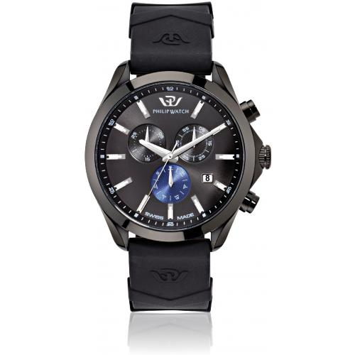 Orologio Uomo Philip Watch Blaze Cronografo 41mm Pelle Nero PVD Nero