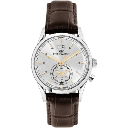 Orologio Uomo Philip Watch Sunray Dual Time 39mm Pelle Marrone