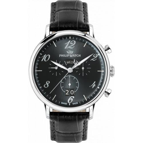 Orologio Uomo Philip Watch Truman Cronografo 41mm Pelle Nero