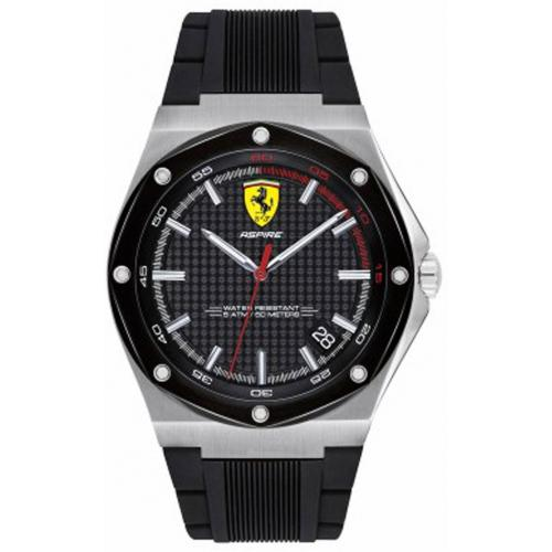 Orologio Uomo Ferrari Aspire Quarzo 44mm Silicone Nero