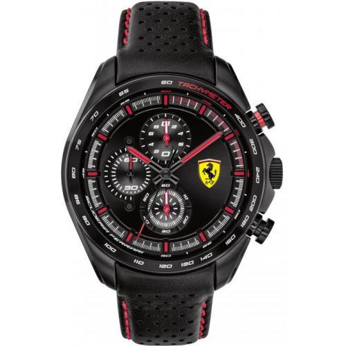 Orologio Uomo Ferrari Speedracer Cronografo 47mm Pelle Nero Quadrante Nero