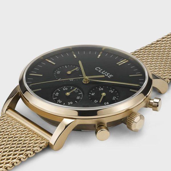 Orologio Uomo Cluse Aravis Cronografo 40mm Mesh PVD Giallo