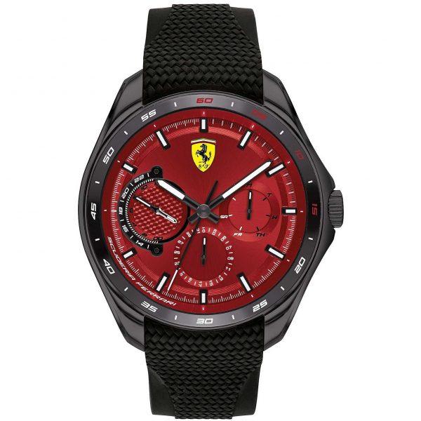 Orologio Uomo Ferrari Speedracer Multifunzione 47mm Silicone Nero Quadrante Rosso