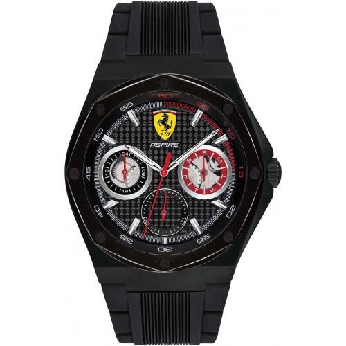 Orologio Uomo Ferrari Aspire Multifunzione 44mm Silicone Nero