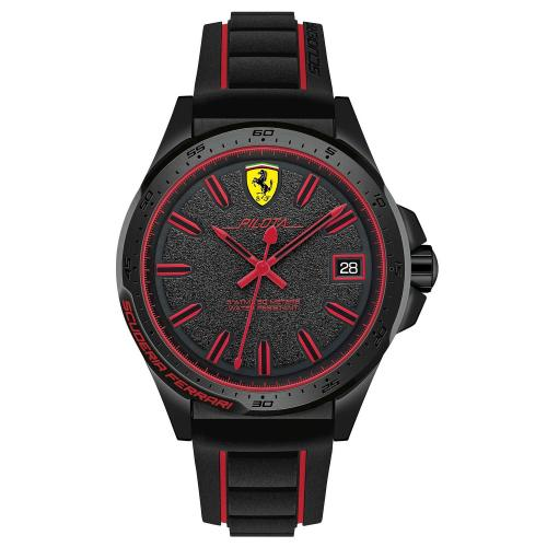 Orologio Uomo Ferrari Pilota Quarzo 45mm Silicone Nero