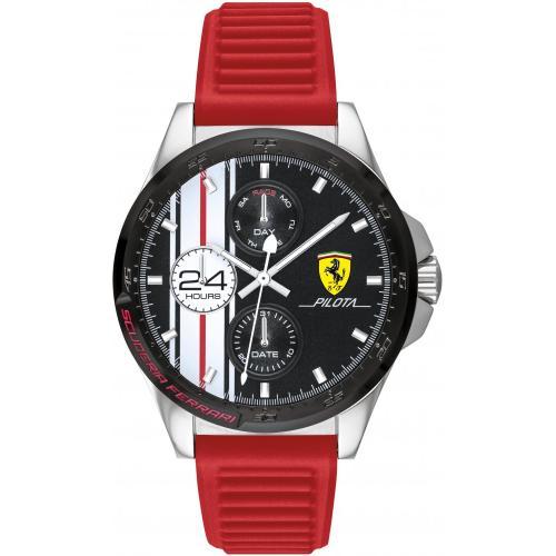 Orologio Uomo Ferrari Pilota Multifunzione 44mm Silicone Rosso