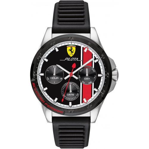 Orologio Uomo Ferrari Pilota Multifunzione 44mm Silicone Nero