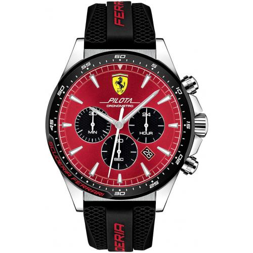 Orologio Uomo Ferrari Pilota Cronografo 48mm Silicone Nero