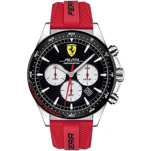 Orologio Uomo Ferrari Pilota Cronografo 48mm Silicone Rosso