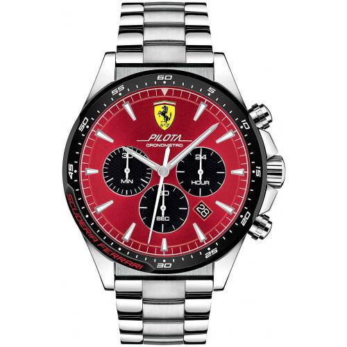 Orologio Uomo Ferrari Pilota Cronografo 48mm Acciaio Quadrante Rosso