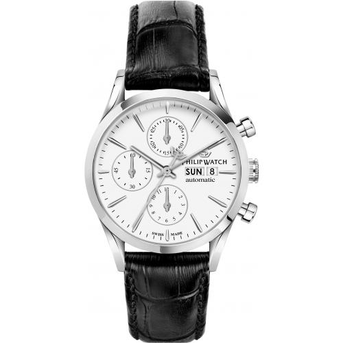 Orologio Uomo Philip Watch Sunray Auto Cronografo 39mm Pelle Nero