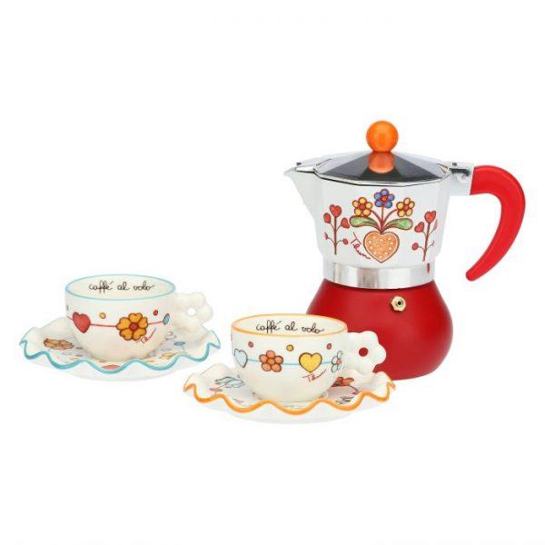 Thun Set Caffettiera E 2 Tazzine Caffè Folk