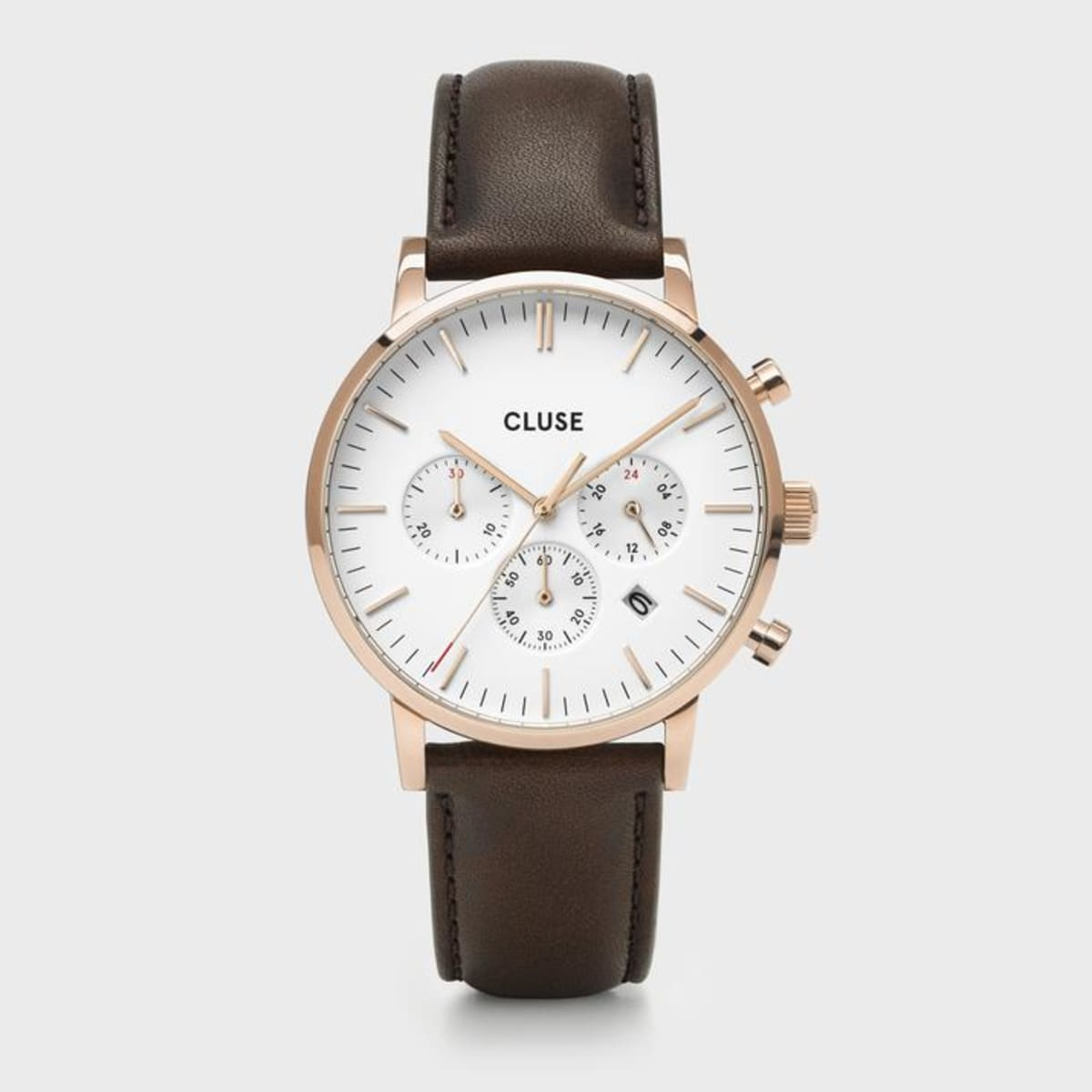 Orologio Uomo Cluse Aravis Cronografo 40mm Pelle Marrone Cassa Rosé