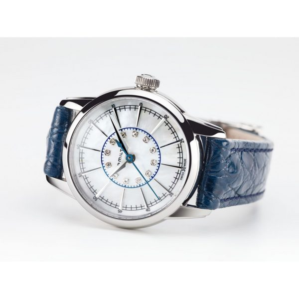 Orologio Donna Hamilton American Classic Railroad Lady Quartz 28mm  Pelle Blu Diamanti Madreperla