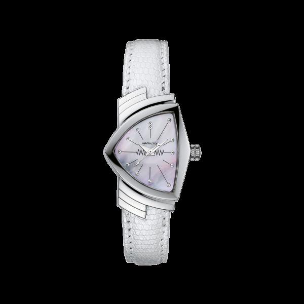 Orologio Hamilton Ventura Quartz Bianco Silver Pelle Small