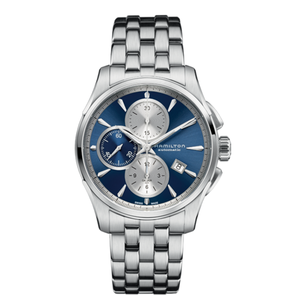 Orologio Hamilton Jazzmaster Auto Chrono 42mm Uomo Acciaio Quadrante Blu