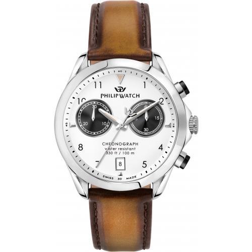 Orologio Uomo Philip Watch Blaze Cronografo 41mm Pelle Marrone Chiaro