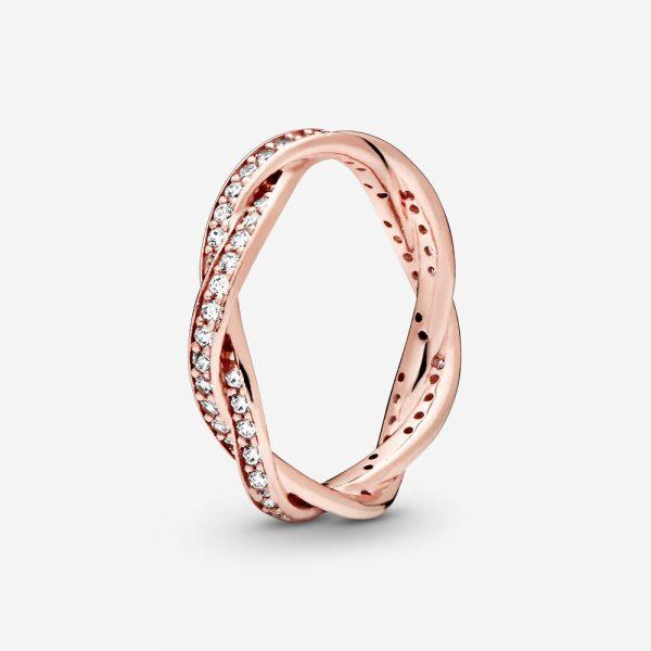 Anello Donna Pandora Linee Intrecciate Scintillanti Oro Rosa