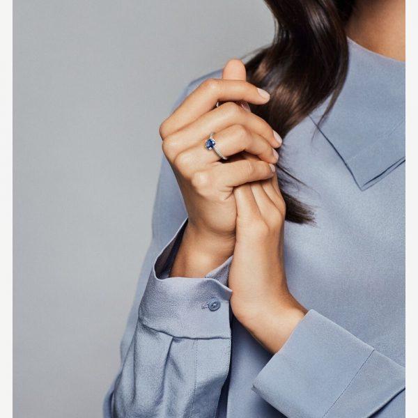 Anello Donna Pandora Corona Scintillante Blu