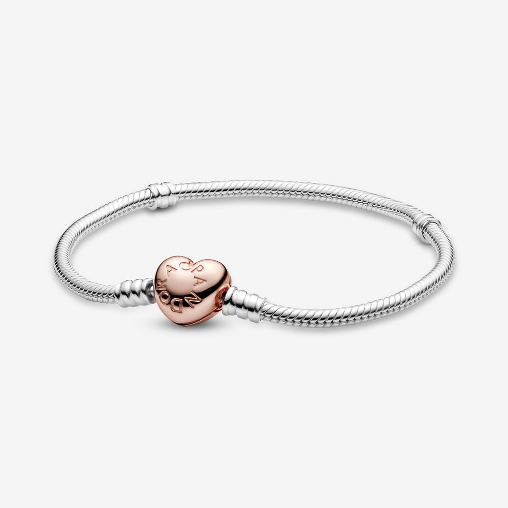 Bracciale Donna Pandora Moments Maglia Snake Chiusura Cuore Oro Rosa
