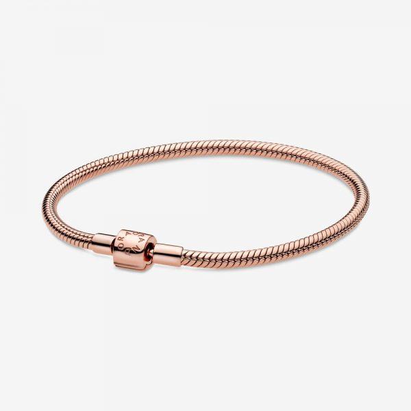 Bracciale Donna Pandora Moments Maglia Snake Chiusura Barile Oro Rosa