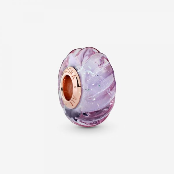 Charm Pandora Donna Vetro Di Murano Rosa Con Intagli Iridescenti