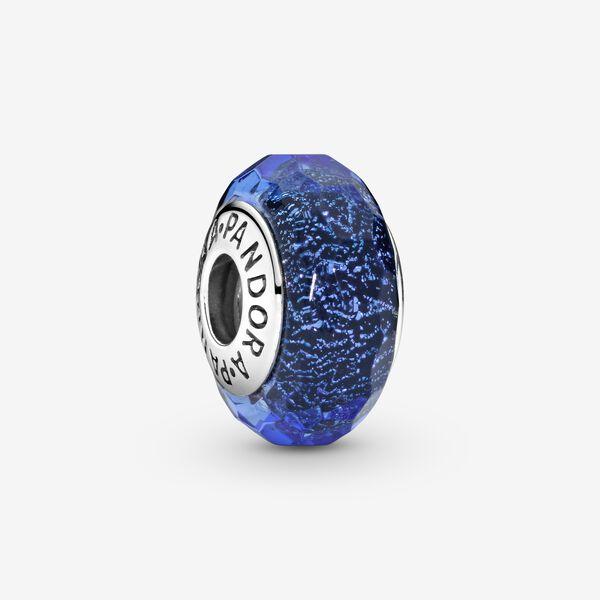 Charm Pandora Donna Vetro Di Murano Sfaccettato Blu
