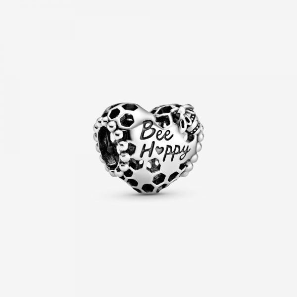 Charm Donna Pandora Cuore a Nido d'Ape Bee Happy (Sii felice)