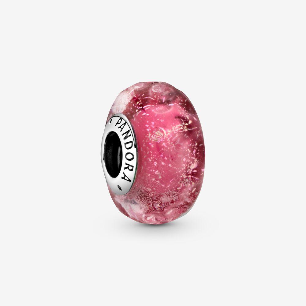 Charm Donna Pandora Vetro Di Murano Rosa Con Onde