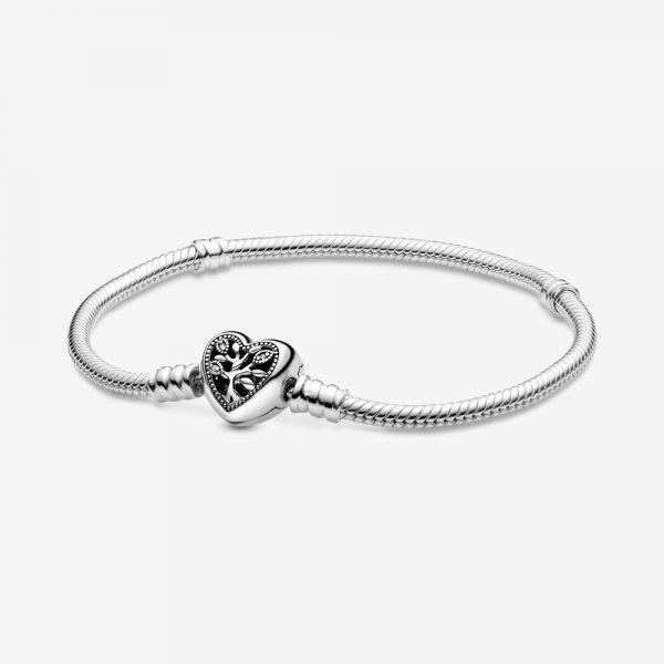 Bracciale Donna Pandora Moments Maglia Snake Chiusura Cuore E Albero Della Vita