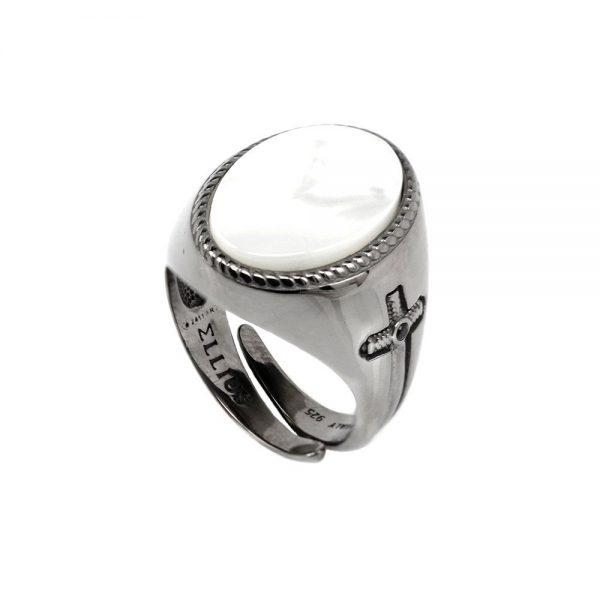 Anello Unisex Ellius Jewelry Gemma Ovale Madreperla