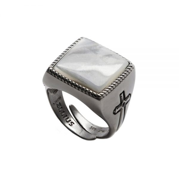 Anello Unisex Ellius Jewelry Gemma Madreperla Quadrato