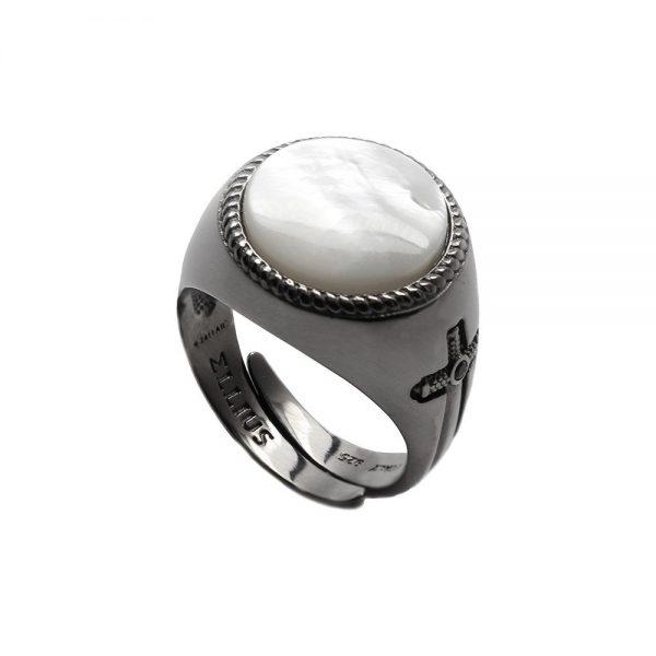 Anello Unisex Ellius Jewelry Gemma Madreperla Tondo