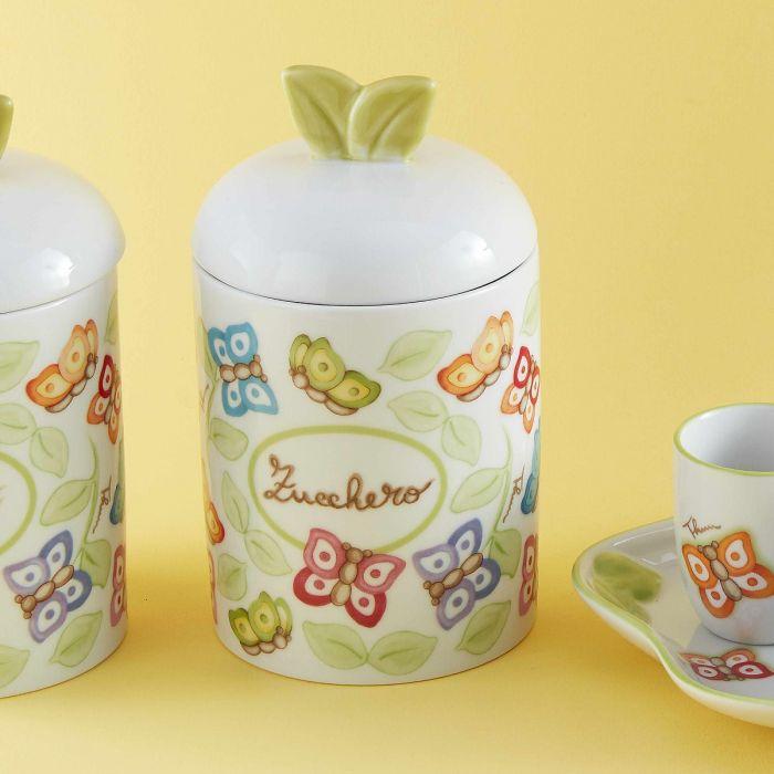 Thun Barattolo Porta Zucchero In Porcellana Farfalle In Festa