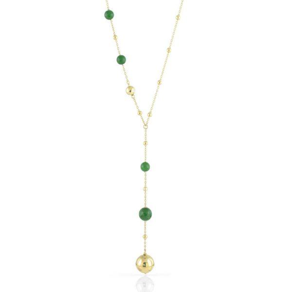 Collana Donna Unoaerre Sfere Lucide E Agata Verde