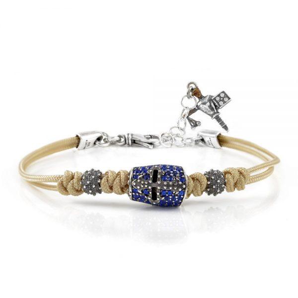 Bracciale Donna Ellius Jewelry Elmo Giostratore Pietre Cordino Avana
