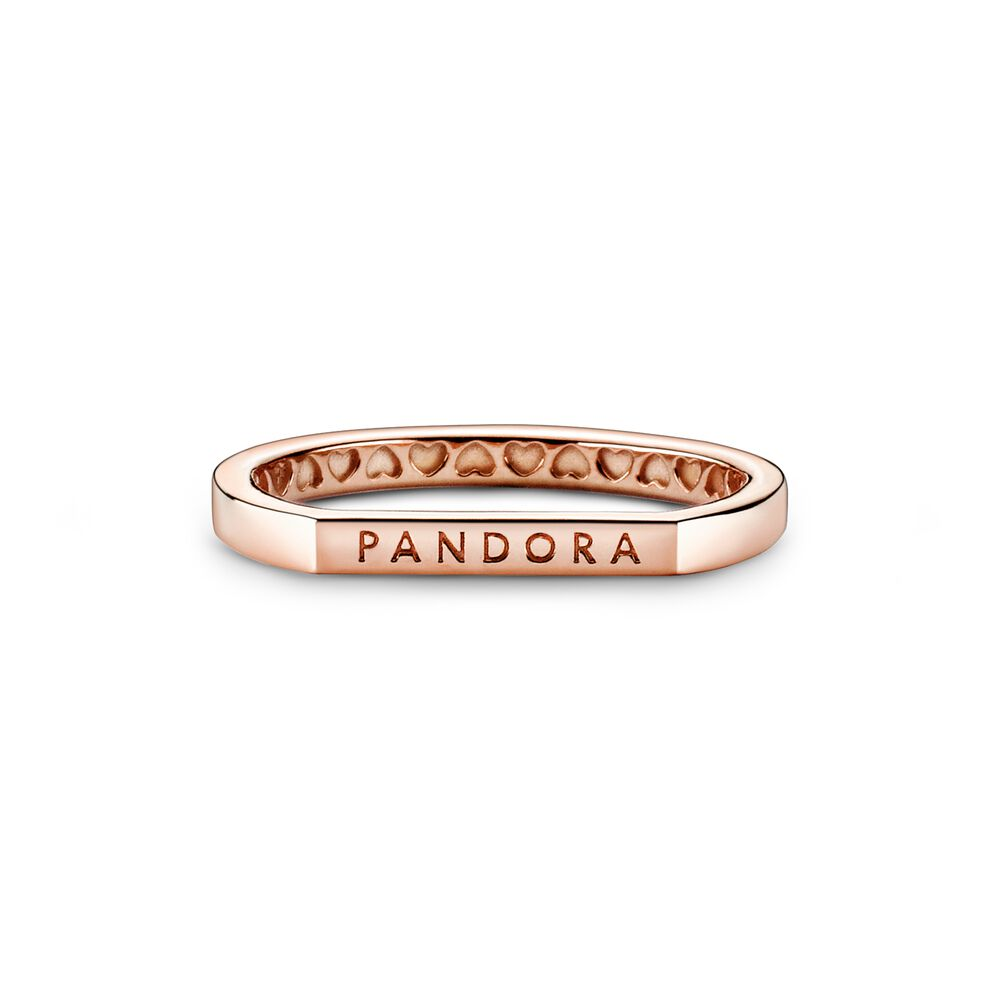 Anello Donna Pandora Componibile Barretta E Logo Oro Rosa
