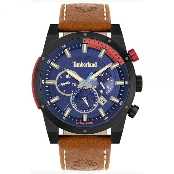 Orologio Uomo Timberland Dual Time Sherbrook Pelle Marrone