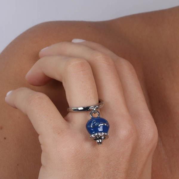 Anello Donna Bysimon Capri Collection Campanella Silver Smalto Blu
