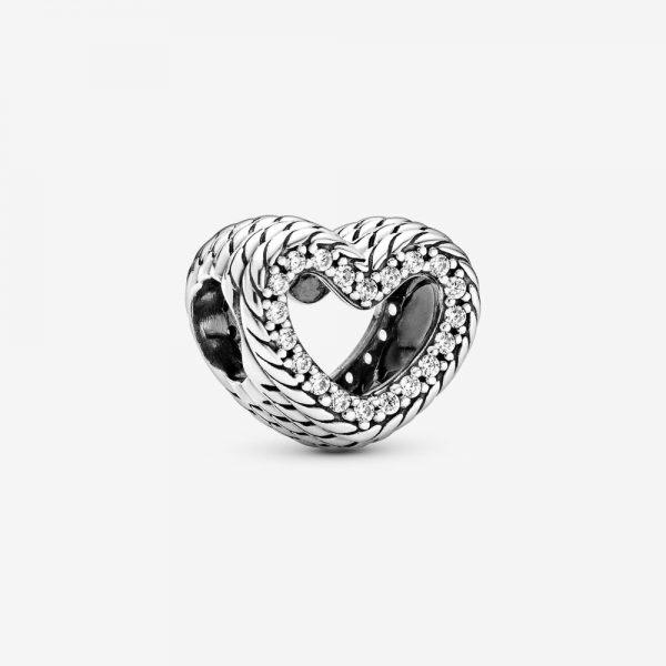 Charm Pandora Donna Cuore Aperto Con Maglia Snake