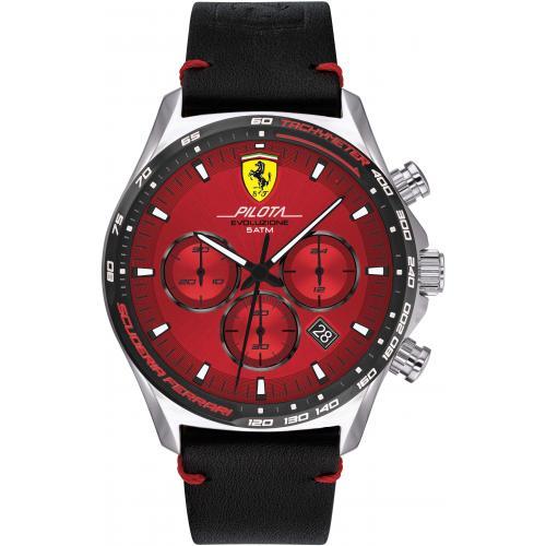 Orologio Uomo Ferrari Pilota Evo Cronografo 44mm Pelle Nero