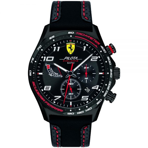 Orologio Uomo Ferrari Pilota Evo Cronografo 44mm Pelle Nero Quadrante Nero
