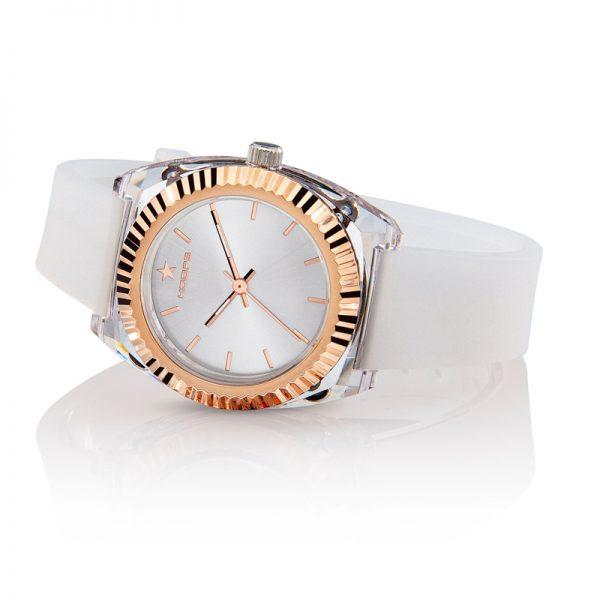 Orologio Hoops Donna Saint Tropez Bianco Quadrante Silver Finiture Oro Rosa