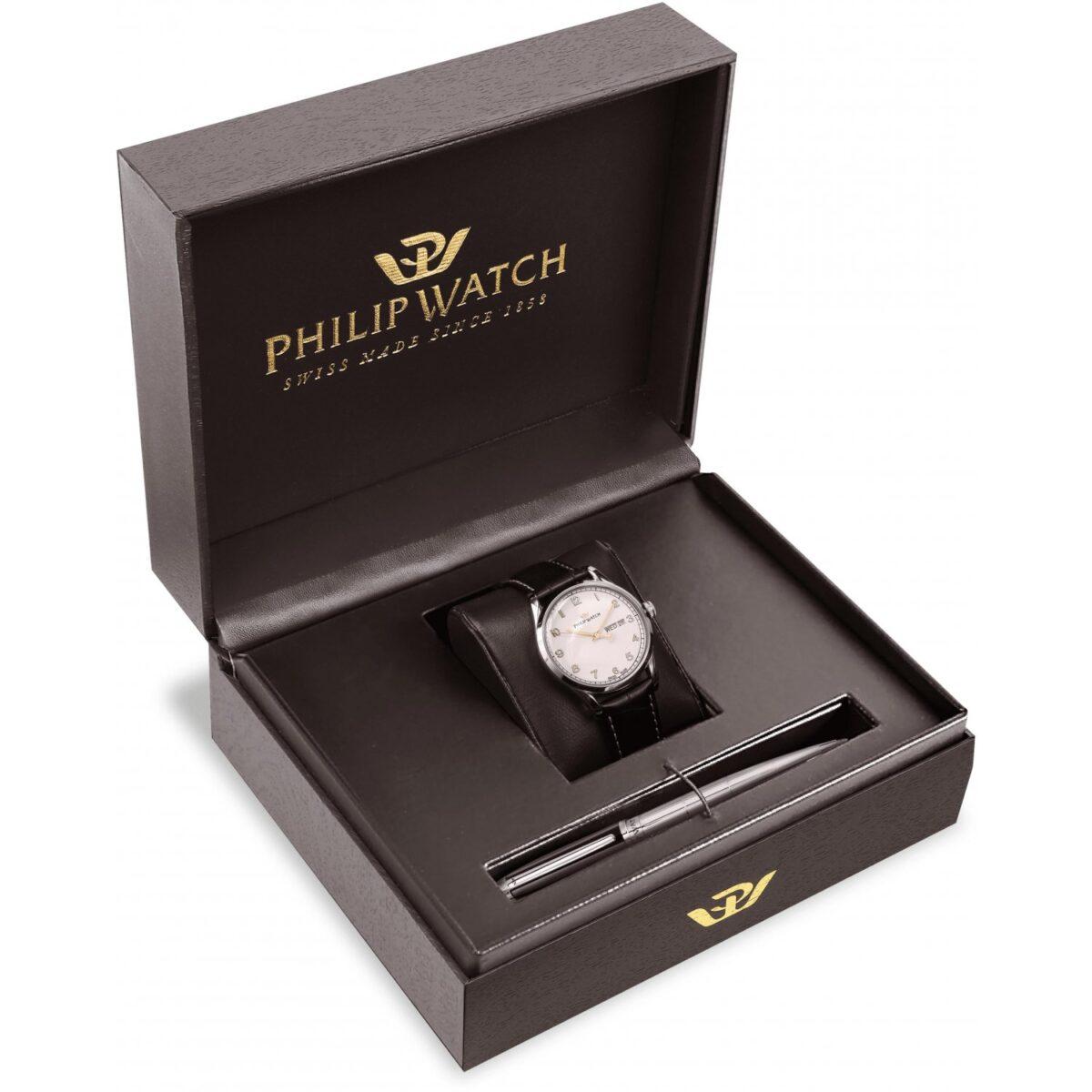 Orologio Uomo Philip Watch Sunray Day Date 39mm Pelle Nero Gift Box