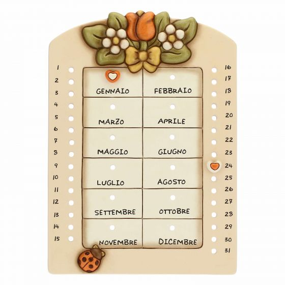 Thun Calendario perpetuo da parete in ceramica Country con coccinella portafortuna