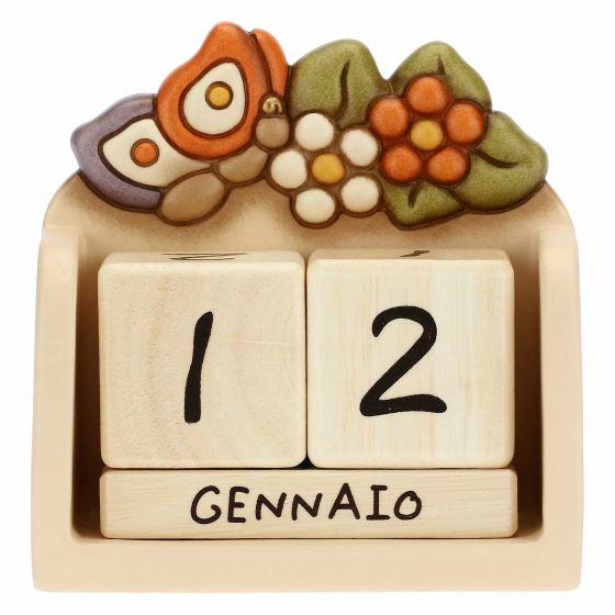 Thun Calendario perpetuo da tavolo in ceramica Country con farfalla